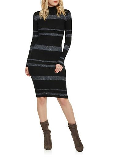 Striped Mock Neck Long Sleeve Sweater Dress,BLACK,large