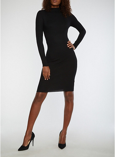 Rib Knit Funnel Neck Sweater Dress,BLACK,large
