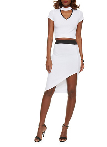 Mock Neck Crop Top with Asymmetrical Skirt Set,WHT-BLK,large