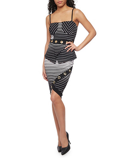 Sleeveless Striped Grommet Top and Skirt Set,WHT-BLK,large