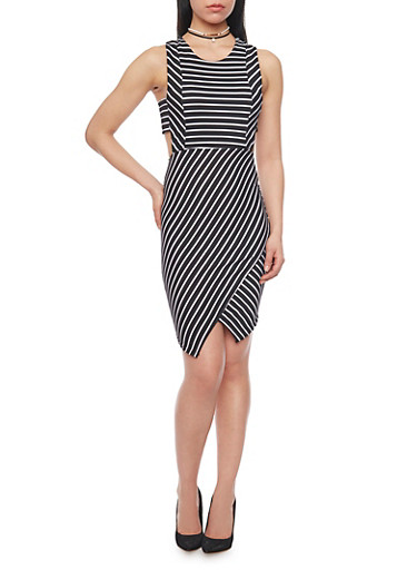 Sleeveless Striped Bodycon Dress with Side Cutouts,BLACK/WHITE,large