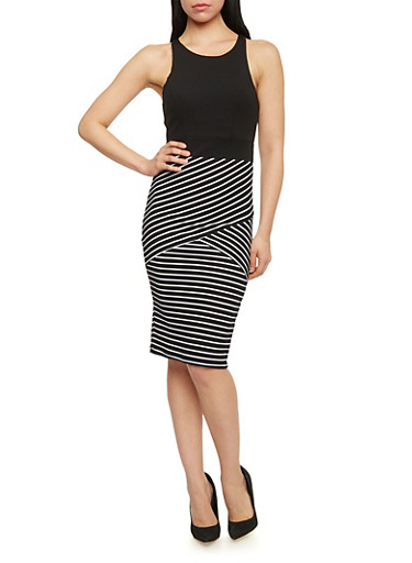 Sleeveless Striped Bodycon Dress,BLACK/WHITE,large
