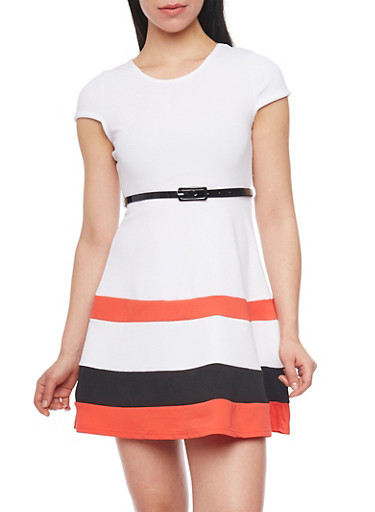 Cap Sleeve Colorblock Skater Dress with Belt,WHITE,large