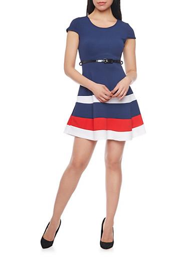 Cap Sleeve Colorblock Skater Dress with Belt,NAVY,large