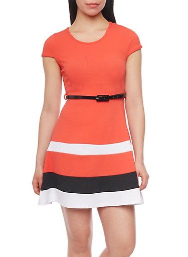 Cap Sleeve Colorblock Skater Dress with Belt,CORAL,large