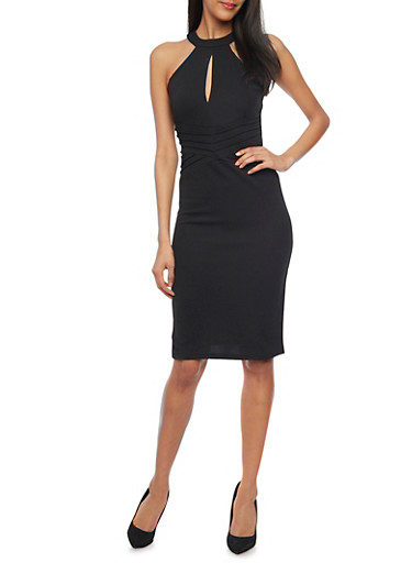 Midi Length Texture Knit Bodycon Dress With Keyhole Neck Detail,BLACK,large