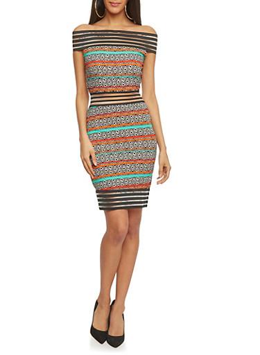 Off The Shoulder Shadow Striped Aztec Print Dress,BLACK,large
