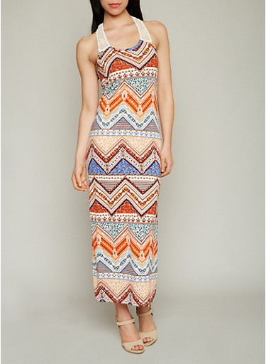 Printed Racerback Maxi Dress with Crochet Detail,RUST/ROYAL,large