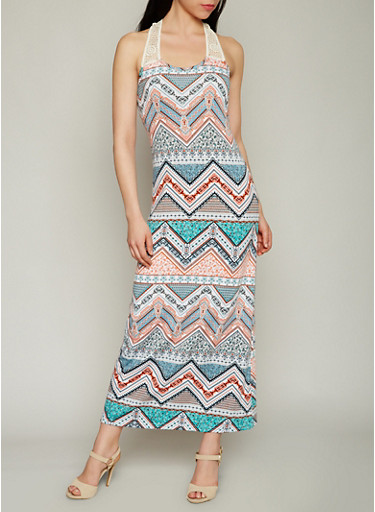 Printed Racerback Maxi Dress with Crochet Detail,CORAL/JADE,large