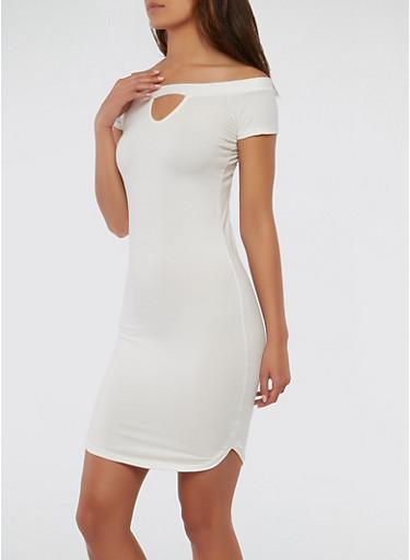 Soft Knit Off the Shoulder Dress,IVORY,large