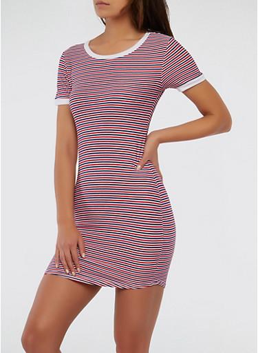 Striped Tri Tone T Shirt Dress,NAVY,large