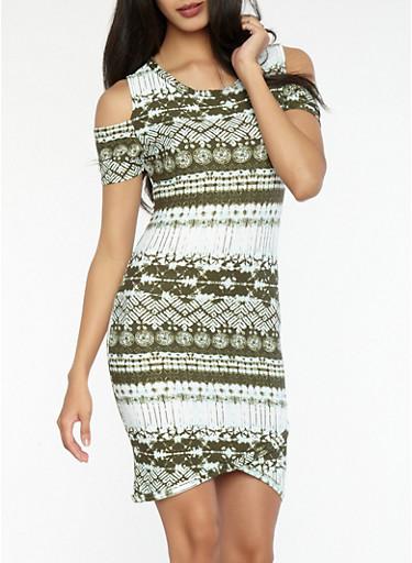 Printed Soft Knit Cold Shoulder Dress,OLIVE,large
