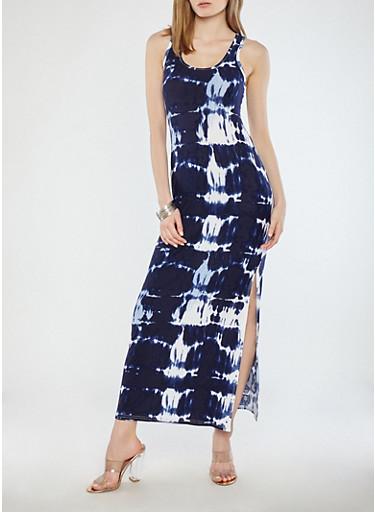 Tie Dye Maxi Dress,NAVY/WHITE,large