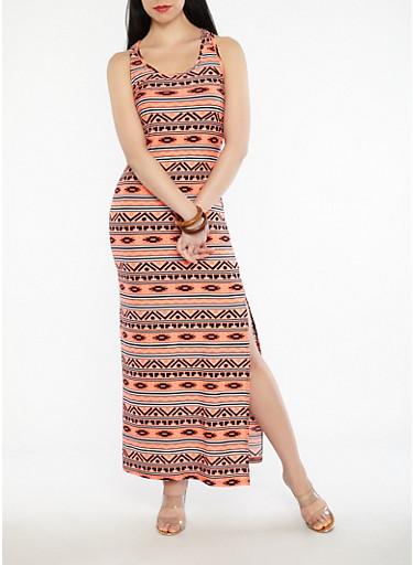 Aztec Print Side Slit Maxi Dress,CORAL,large