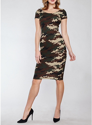 Soft Knit Camo T Shirt Dress,CAMOUFLAGE,large