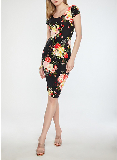 Soft Knit Floral Bodycon Dress,BLACK,large