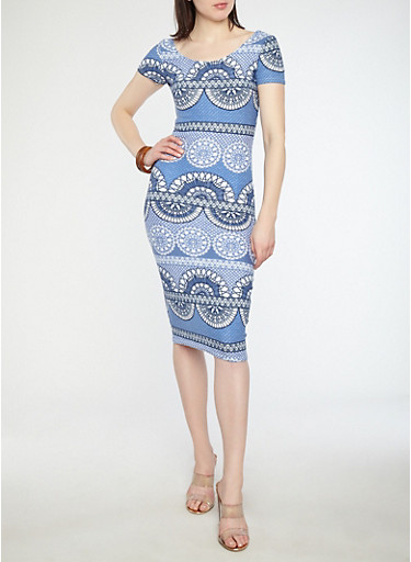Printed Soft Knit Bodycon Dress,BLUE,large