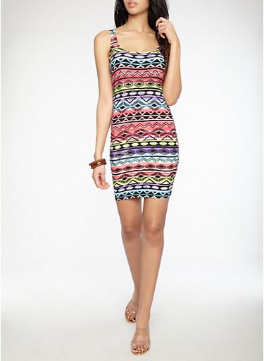Aztec Print Tank Dress,MULTI COLOR,large