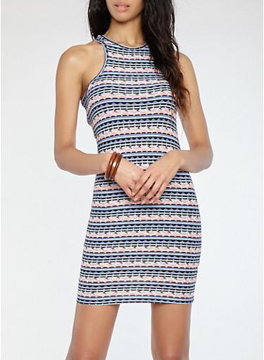 Soft Knit Printed Racerback Dress,MAUVE,large