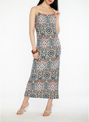 Printed Rope Detail Maxi Dress,MULTI COLOR,large