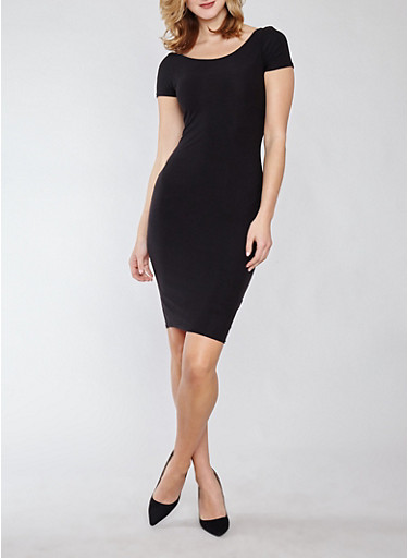 Soft Knit Bodycon Dress,BLACK,large