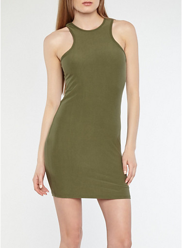 Soft Knit Racerback Bodycon Dress,OLIVE,large