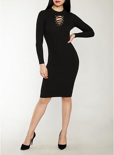 Lace Up Keyhole Sweater Dress,BLACK,large