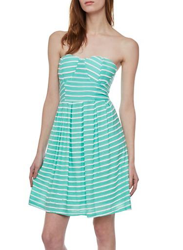 Strapless Skater Dress in Stripes,MINT,large