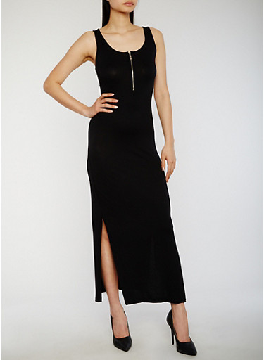 Solid Mid Zip Maxi Dress,BLACK,large
