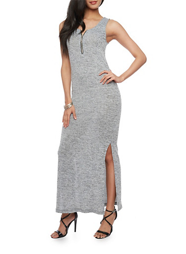 Sleeveless Marled Maxi Dress with Zip Neck Detail,GRAY,large