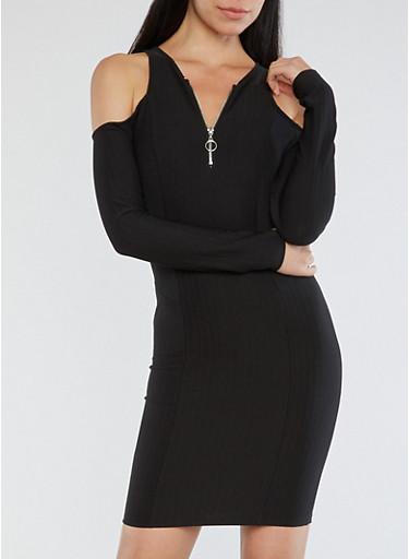 Ribbed Knit Zip Neck Cold Shoulder Dress,BLACK,large