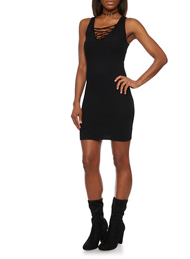 Rib Knit Bodycon Dress with Lace Up Neckline,BLACK,large