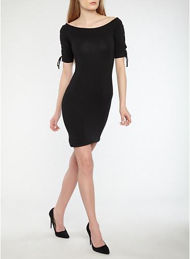 Lace Up Shoulder Bodycon Dress,BLACK,large