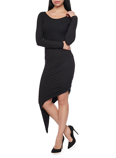 Long Sleeve Asymmetrical Bodycon Dress with Back Cutout,BLACK,large