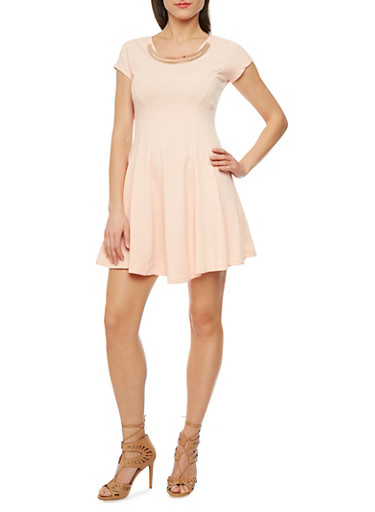 Skater Dress with Double Curved Bar Neckline,BLUSH,large