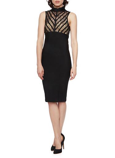 Sleeveless Dress with Lace Paneling and Mock Neck,BLACK/BLACK,large