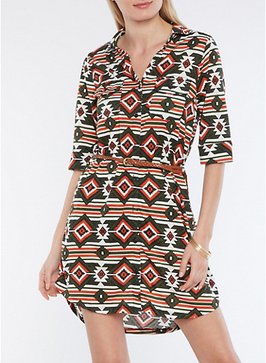 Belted Aztec Print Button Front Dress,MULTI COLOR,large
