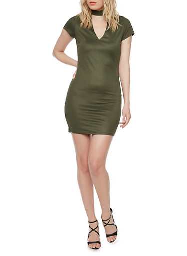 Mini Mockneck T Shirt Dress,OLIVE,large