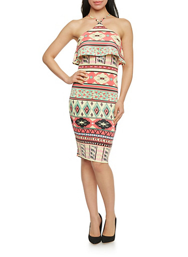 Mid Length Aztec Print Ruffled Halter Dress,MULTI CORAL/YELLOW,large