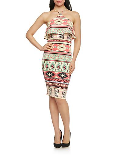 Mid Length Aztec Print Ruffled Halter Dress,MULTI CORAL/YELLOW,large