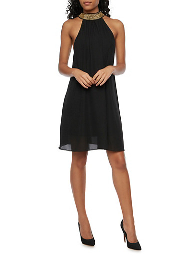 Chiffon Swing Dress with Chain Link Halter Neck,BLACK,large