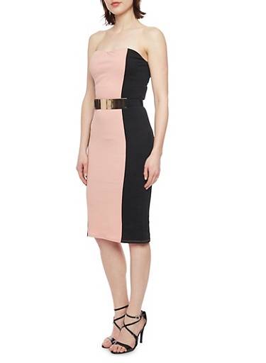 Strapless Textured Knit Color Block Bodycon Dress with Metal Bar Waist Belt,BLACK/DUSTY PINK,large