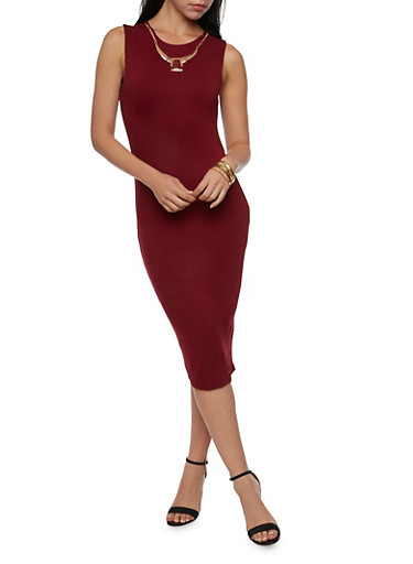 Sleeveless Sheath Dress with Removable Necklace,BURGUNDY,large