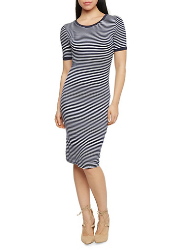 Scoop Neck Striped T Shirt Dress,NAVY/WHITE,large