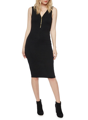 Sleeveless Zip Neck Bodycon Dress,BLACK,large