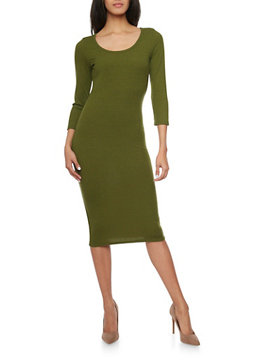 Ribbed Knit Scoop Neck Bodycon Dress,OLIVE,large
