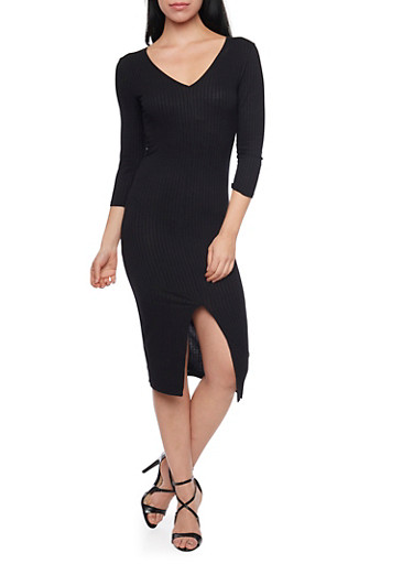 Rib Knit V Neck Bodycon Dress with Front Slit,BLACK,large
