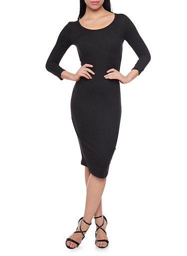 Mid Length Scoop Neck Bodycon Dress,BLACK,large