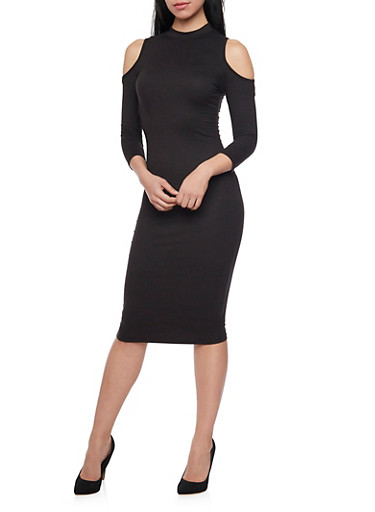 Soft Knit Cold Shoulder Midi Dress,BLACK,large
