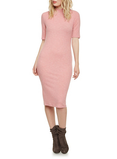 Ribbed Mock Neck Sweater Dress,BLUSH,large